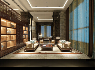 ,450平,150万,中式,别墅,客厅,黑白,原木色,