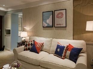 ,76平,9万,美式,两居,客厅,棕色,白色,