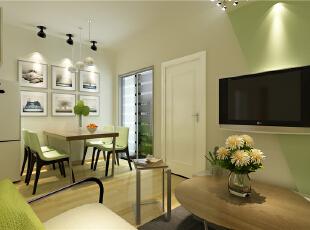 ,52平,5万,现代,一居,客厅,原木色,绿色,简约,宜家,餐厅,