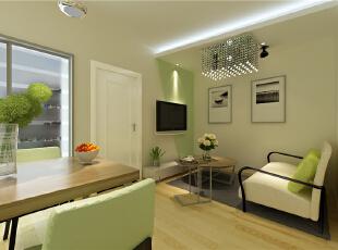 ,52平,5万,现代,一居,客厅,简约,宜家,白色,原木色,绿色,
