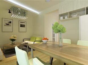 ,52平,5万,现代,一居,白色,原木色,绿色,宜家,简约,客厅,餐厅,
