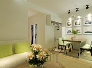 ,52平,5万,现代,一居,餐厅,简约,宜家,绿色,白色,原木色,