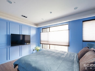 ,163平,23万,现代,三居,卧室,白蓝,