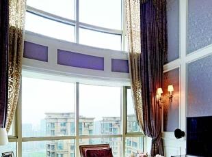 ,260平,30万,新古典,别墅,客厅,黄白,紫色,