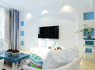 领势公馆85平方客厅装修效果图,85平,6万,地中海,两居,客厅,蓝色,