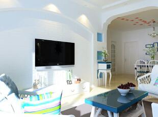 领势公馆85平方客厅装修效果图,85平,6万,地中海,两居,客厅,白色,