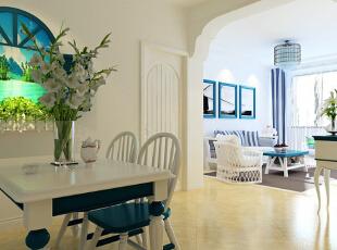 领势公馆85平方餐厅装修效果图,85平,6万,地中海,两居,餐厅,蓝色,