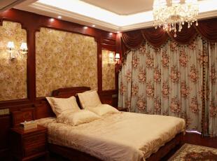 ,700平,200万,欧式,别墅,卧室,红木色,黄白,