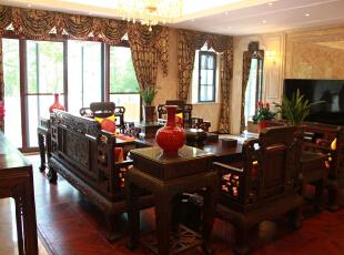 ,700平,200万,欧式,别墅,客厅,红木色,黄白,