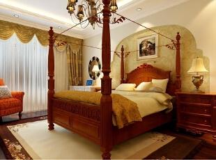 ,140平,20万,欧式,三居,卧室,米黄色,