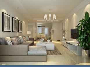,130平,5万,现代,三居,客厅,米黄色,