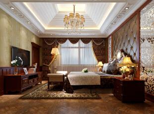 ,402平,94万,欧式,别墅,卧室,棕色,黄白,