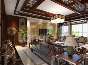 保定秀兰尚城200平米中式古典风格装修案例赏析,200平,12万,中式,四居,客厅,