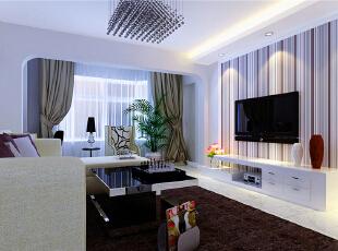 ,60平,5万,现代,两居,客厅,紫色,白色,