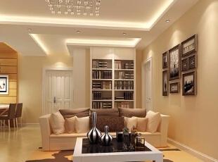 ,76平,10万,现代,两居,客厅,米黄色,