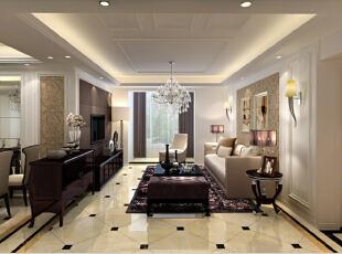 ,128平,10万,欧式,三居,客厅,棕色,黄白,