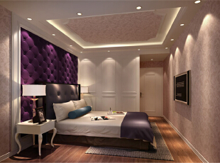 ,128平,10万,欧式,三居,卧室,紫色,粉红色,