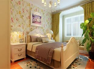,60平,5万,田园,两居,卧室,春色,米黄色,