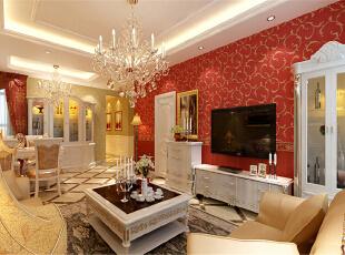 ,60平,5万,新古典,两居,客厅,红色,米黄色,