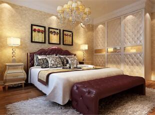 ,60平,5万,新古典,两居,卧室,米黄色,白色,