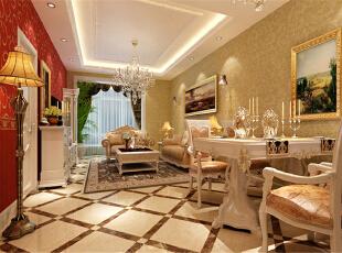 ,60平,5万,新古典,两居,客厅,米黄色,白色,