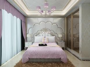 ,170平,8万,新古典,三居,卧室,淡紫色,白色,
