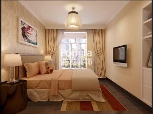 石家庄天海誉天下90㎡两室两厅户型现代简约效果图案例,90平,4万,现代,两居,卧室,米黄色,