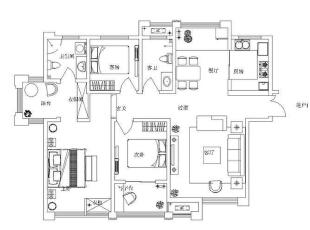 西雅图130平方三室两厅现代风格装修效果图 户型图,130平,9万,中式,三居,餐厅,