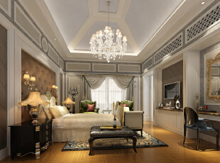 ,80平,120万,现代,三居,卧室,棕色,灰白,