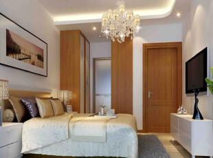 依旧是原木色的衣柜对应了其他空间构成一个整体,温暖的灯光给人一种舒适温馨的感觉。,140平,9万,现代,两居,晚上,原木色,白色,