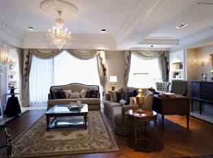 客厅:线条简洁的欧式沙发展现现代风格,高贵、典雅又不失浪漫气质,221平,30万,欧式,三居,客厅,原木色,白色,