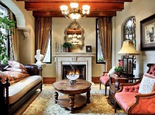 ,美式,别墅,中建红杉溪谷,客厅,原木色,黄色,
