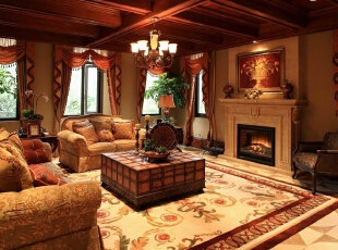 ,美式,别墅,客厅,原木色,黄色,