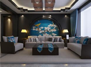 ,139平,5万,中式,三居,客厅,原木色,黑白,