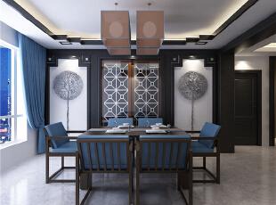 ,139平,5万,中式,三居,客厅,餐厅,原木色,黑白,