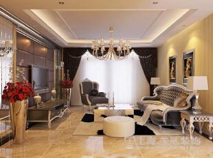 升龙又一城143平四室两厅简欧风格装修效果图——客厅装修效果图,143平,6万,欧式,四居,客厅,棕色,黄白,