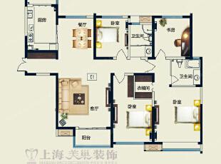 永威五月花城170平四室两厅简欧风格装修户型图,170平,12万,欧式,四居,