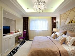 简欧风格卧室,卧室,浅棕色,白色,