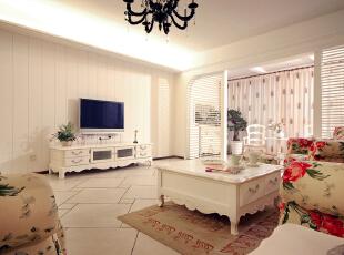 北京别墅装修设计——客厅 英式乡村休闲风格,接下来设计师紧扣田园梦想的主题,与自然挂钩,187平,30万,田园,四居,客厅,白色,绿色,粉色,