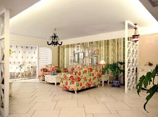北京别墅装修设计——客厅2 把客户想要的甜蜜浪漫的感觉通过整体的设计与搭配,将白色的家具与碎花的壁纸等,187平,30万,田园,四居,客厅,绿色,粉色,黑白,黄色,