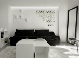 可爱萌萌哒的沙发背景墙,黑色的沙发配上白色的背景,简单大方干练又不失女主人可爱的内心气息~,99平,7万,现代,两居,白色,黑白,