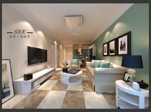 ,80平,20万,两居,现代,客厅,绿色,