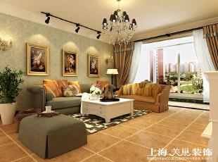 瀚宇天悦4室2厅美式乡村风格沙发墙装修方案---沙发背景墙采用的是暗纹的壁纸,配上漂亮的油画简洁、舒适。,142平,12万,美式,四居,客厅,绿色,