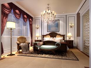 ,280平,80万,欧式,大户型,卧室,白色,