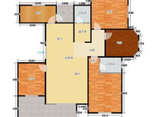 祝福红城装修案例户型图,155平,10万,现代,四居,
