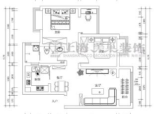 润城89平西户两室两厅现代简约装修平面布局图,89平,6万,现代,两居,