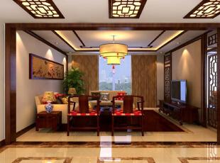 ,117平,13万,中式,三居,客厅,