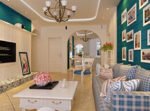 ,105平,6万,地中海,两居,客厅,春色,绿色,蓝色,田园,