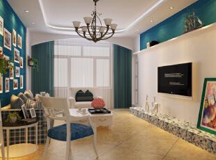 ,105平,6万,地中海,两居,客厅,田园,蓝色,绿色,