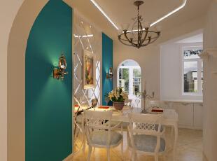 ,105平,6万,地中海,两居,餐厅,田园,蓝色,绿色,白色,